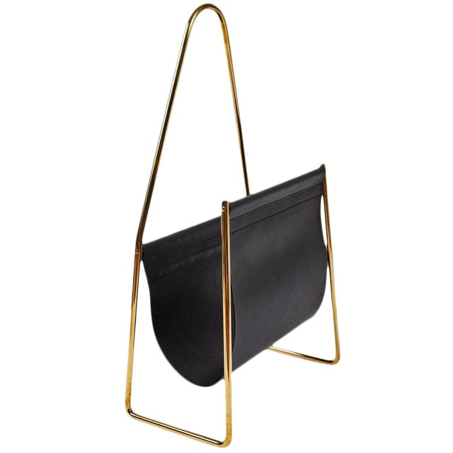 Modern Carl Auböck Model #3808 Brass and Leather Magazine Rack For Sale