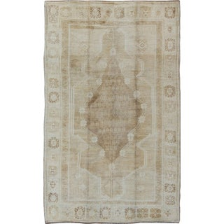 Vintage Turkish Oushak Rug With Multi Layered Medallion and Geometric Design For Sale