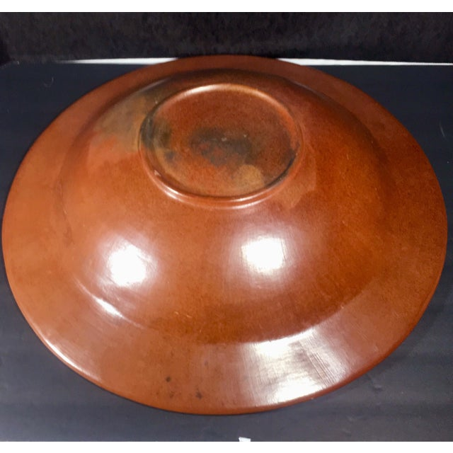 1970s Vintage Oversized Artisan Hand Burnished Terracotta Bowl For Sale - Image 9 of 12
