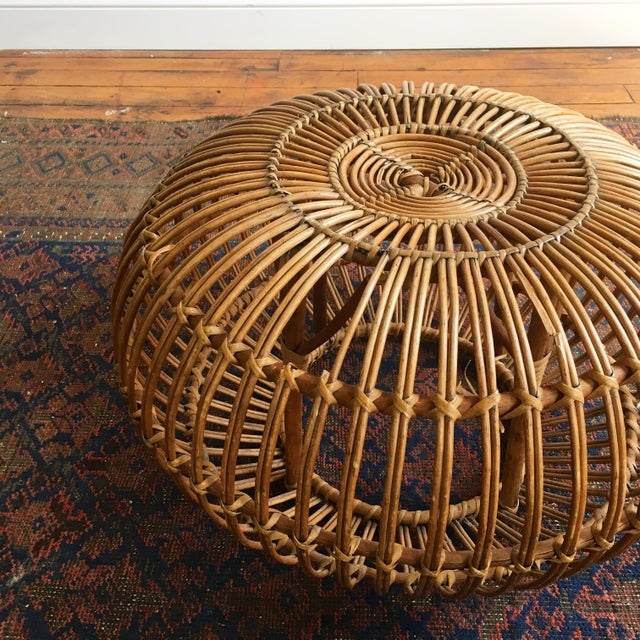 Contemporary Vintage Franco Albini Wicker Footstool For Sale - Image 3 of 6