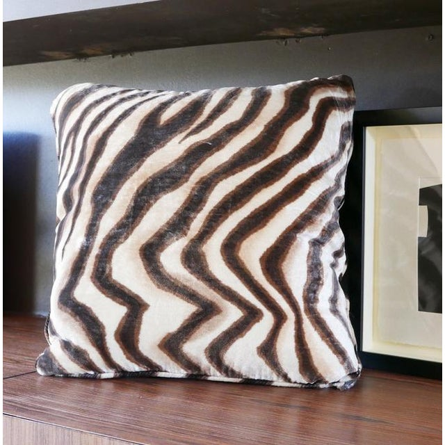 Contemporary Velvet Tiger Pillow For Sale - Image 3 of 5