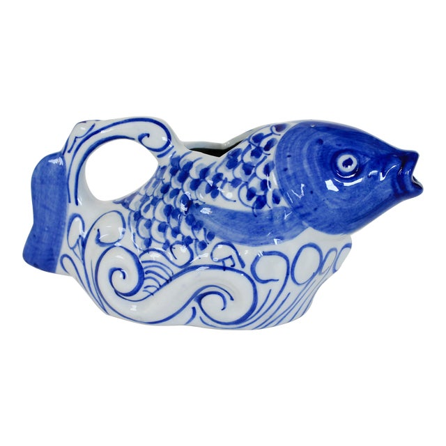 Chinese Blue and White Fish Form Ceramic Teapot For Sale