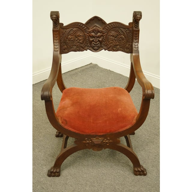 Gothic 1920's Antique Jacobean Gothic Revival Carved Accent Arm Chair For Sale - Image 3 of 10