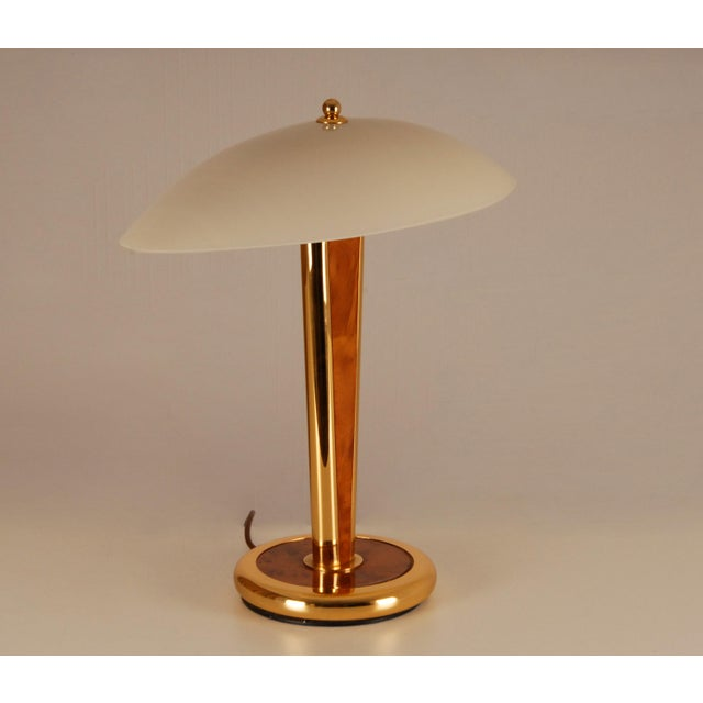 Mid-Century Modern Mid Century Mushroom Gilt Brass and Burl Wood Table Lamp with Hand Crafted Glass Shade Milo Baughman Style For Sale - Image 3 of 11