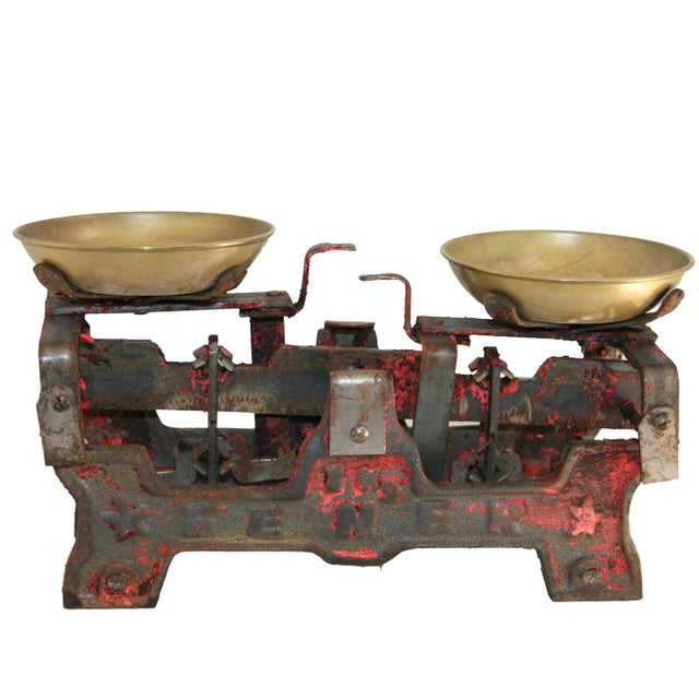 Mid 20th Century Vintage Table Scale | Red Turkish Street Vendor Scale For Sale - Image 5 of 5