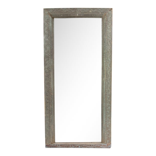 Full Length Antique Carved Floor Mirror - Image 1 of 3