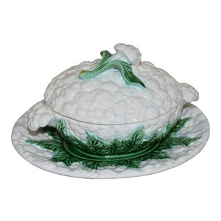 Bordalo Pinheiro Cauliflower Majolica Cabbage Covered Bowl For Sale
