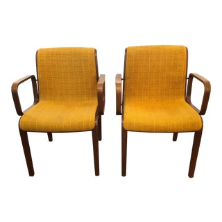 Mid Century Modern Teak and Wool Bill Stephens for Knoll Armchairs- A Pair For Sale