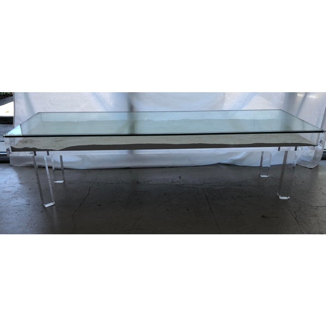 1970s Mid-Century Modern Lucite & Sliding Glass Cocktail Table For Sale - Image 11 of 11