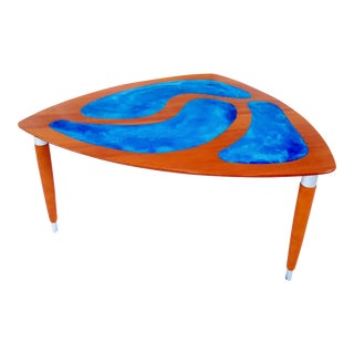 Danish Modern Triangle Table With Resin Art Inlay For Sale