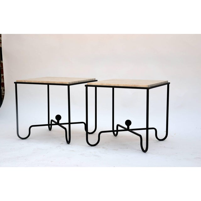 "Contemporary Design Frères Wrought Iron and Travertine ""Entretoise"" Side Tables - a Pair For Sale - Image 10 of 10"