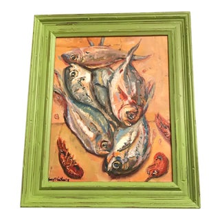 Nancy T. Van Ness Crawfish Original Framed Oil Painting For Sale