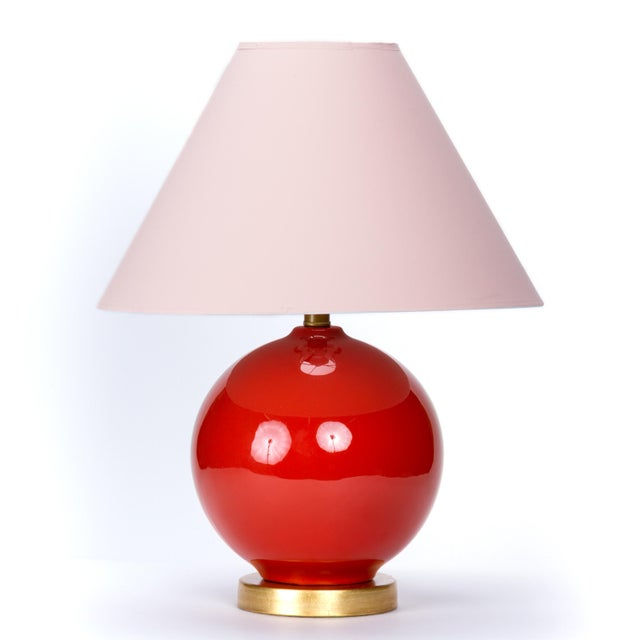 Ceramic Casa Cosima Sphere Table Lamp, Persimmon/Pink Shade For Sale - Image 7 of 7