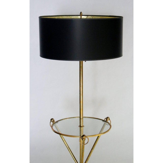 Hollywood Regency Brass Tripod Floor Lamp with Custom Shade For Sale - Image 3 of 5