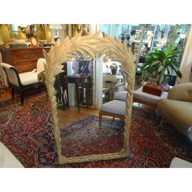 Mid-Century Modern Vintage Dorothy Draper Style Palm Frond Mirror For Sale - Image 3 of 12