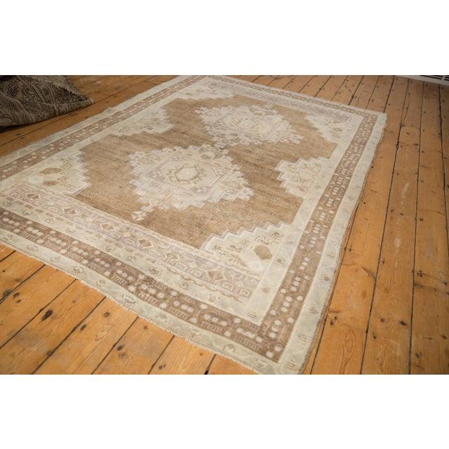 "Vintage Distressed Oushak Carpet - 5'7"" X 8'3"" For Sale - Image 10 of 11"