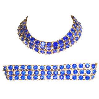 Antique Gilt Gold Sapphire Blue Faceted Glass Choker Necklace & Bracelet - Set of 2 For Sale