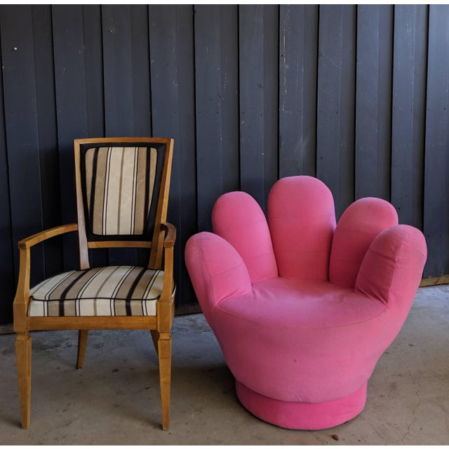 Boho Chic Pink Hand Shaped Swivel Lounge Chair For Sale - Image 10 of 11