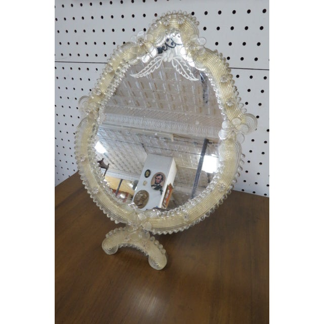 White 1900 Vintage Antique Venetian Glass Table/Wall Mirror For Sale - Image 8 of 8