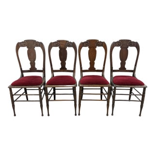 Antique Carved Oak Red Velvet Dining Chairs - Set of 4 For Sale