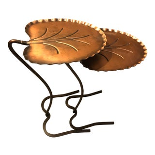 1960's Vintage Salterini Bronze Lily Pad Nesting Tables- A Pair For Sale