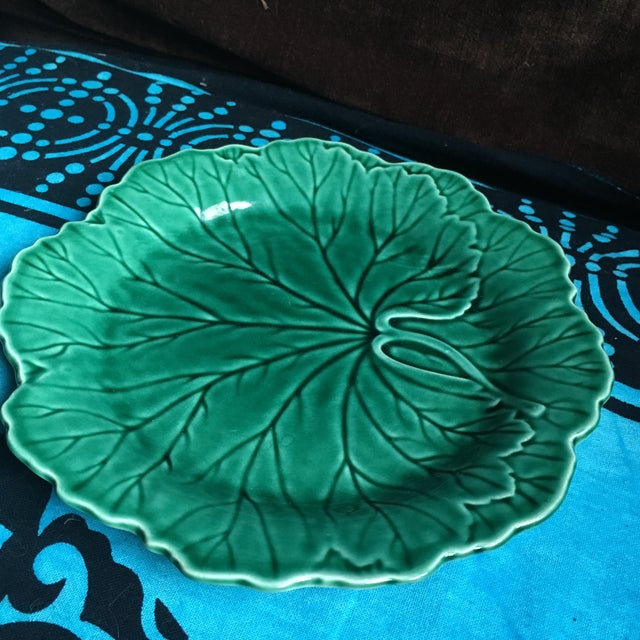 "I love these beautiful green majolica plates. This is an 8"" salad plate in excellent gently used condition. Looks gorgeous..."
