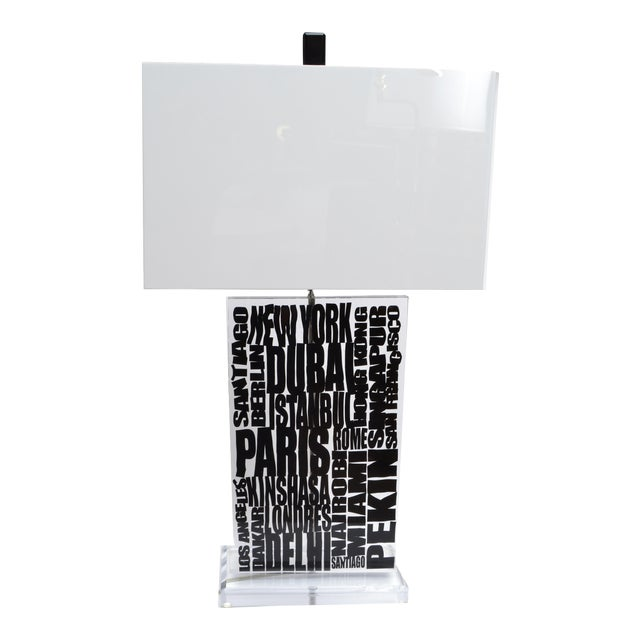 Unique Cities Lucite Table Lamp with Acrylic Shade For Sale