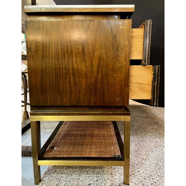 Mid-Century Modern McCobb Cabinet With Glass Top Brass Frame and Caning For Sale - Image 12 of 13