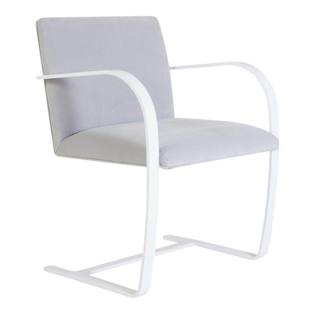 Brno Flat-Bar Chairs in Dove Velvet, Lunar Gloss Frame For Sale