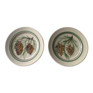 Hand Painted Pine Cone Pottery Plates - a Pair For Sale