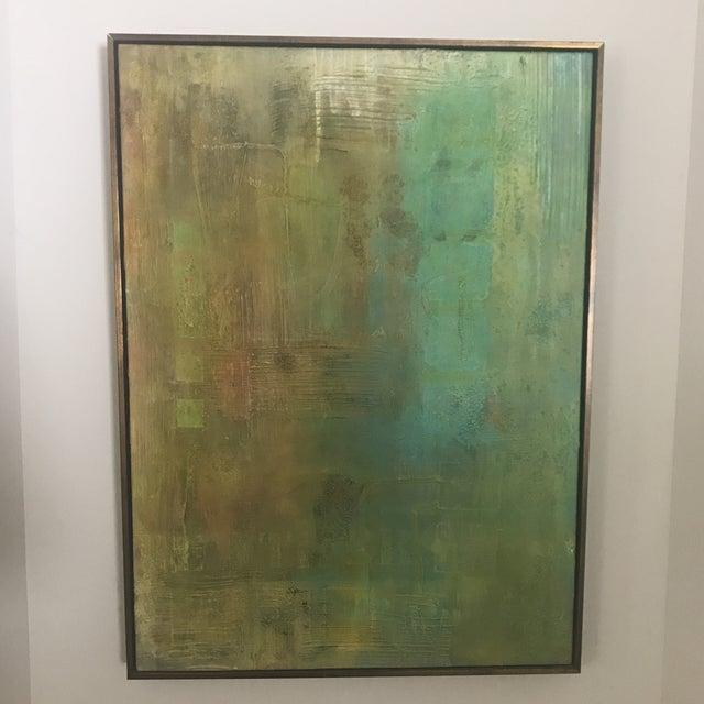 Abstract Aqua Textural Painting - Image 6 of 6