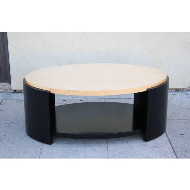 Maple and Black Lacquer Coffee Table in the Style of Karl Springer - Image 2 of 7