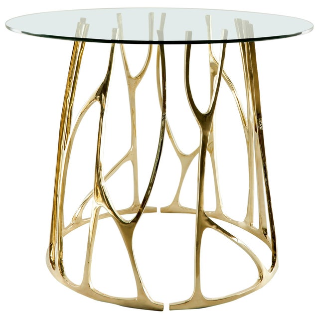 2010s Brass Sculpted Round Table, Golden Roots, Misaya For Sale - Image 5 of 5