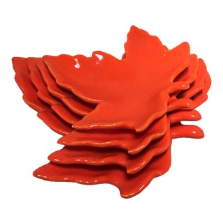 Nesting Orange Maple Leafs - Set of 4