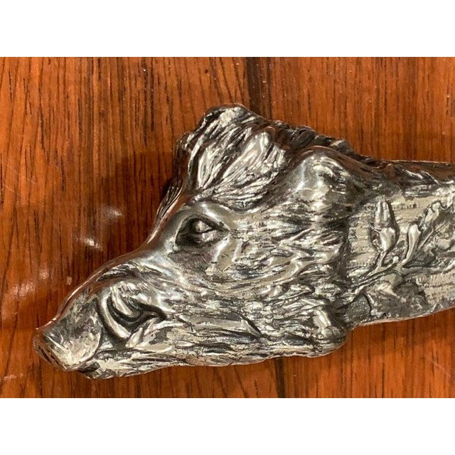 Early 20th Century Antique Austrian Silver Plated Wild Boar Motif Cigar Cutter For Sale - Image 5 of 12