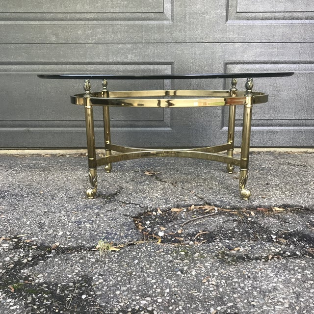 Art Nouveau Hollywood Regency Brass and Glass Coffee Table by LaBarge For Sale - Image 3 of 9