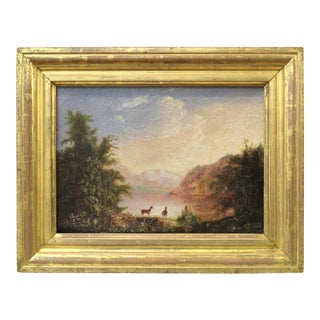 American Hudson River School Landscape with Deer Oil Painting For Sale