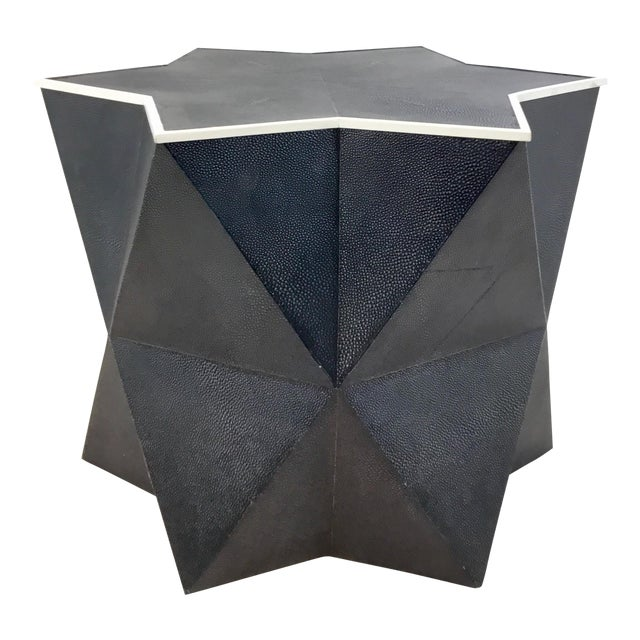 Worlds Away Modern Navy Faux Shagreen Astro Side Table For Sale