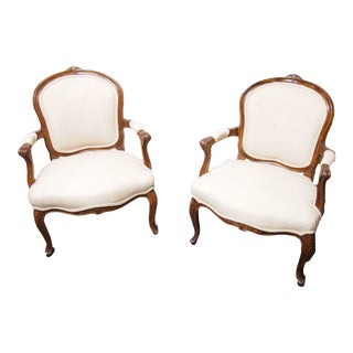 19th Century Louis XV Style Arm Chairs - a Pair