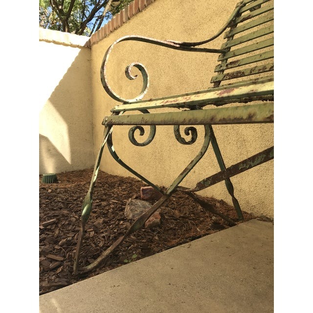 Green 19th Century Antique French Wrought Iron Green Garden Park Restaurant Bench For Sale - Image 8 of 13