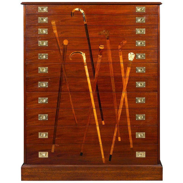Inlaid Mahogany Cane Cabinet For Sale In New Orleans - Image 6 of 6