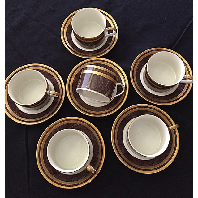 Gold Mahogany Florentine Luncheon or Dessert China Set - 18 Pieces For Sale - Image 8 of 13