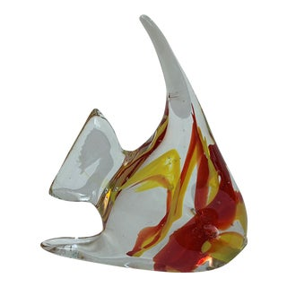 Mid 20th Century Murano Style Glass Angel Fish Figurine For Sale
