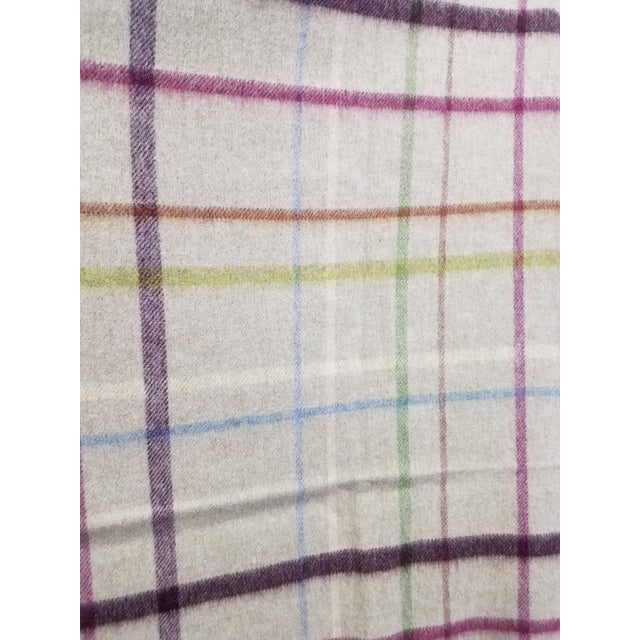 Wool Throw Multi Color Stripes on Beige Background - Made in England For Sale In Dallas - Image 6 of 12