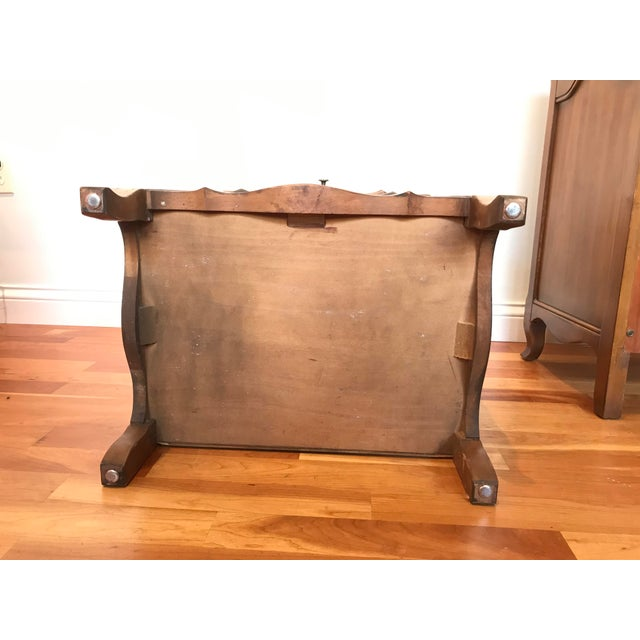 Burnt Umber Vintage John Widdicomb of Grand Rapids Michigan Solid Cherry Wood Nightstands End Tables Country French Provincial With Gallery Rail - a Pair For Sale - Image 8 of 10