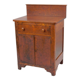 Antique Primitive Burlwood Dry Sink Cabinet