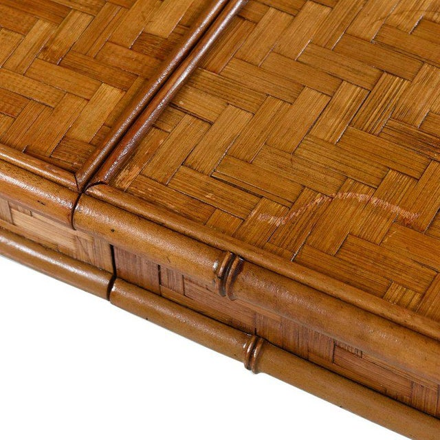 1970s Hollywood Regency Parsons Style Rattan Basket Weave Parquet Dining Table For Sale - Image 5 of 6