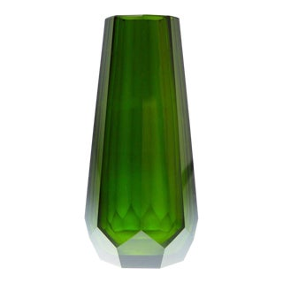 Green Hand Cut Crystal Vase Attributed to Josef Hoffmann for Moser & Söhne For Sale