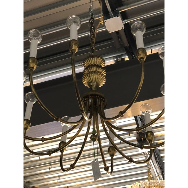 Mid-Century Modern Brass Chandelier in the Manner of Tommi Parzinger - Image 8 of 11