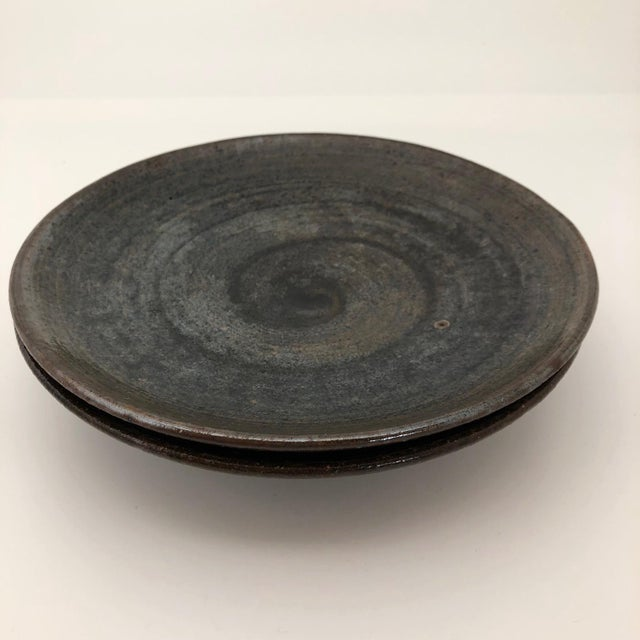 Handthrown Mid-Century Studio Pottery Plates - A Pair For Sale In Boston - Image 6 of 11